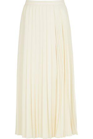 VALENTINO Ivory pleated cady midi skirt