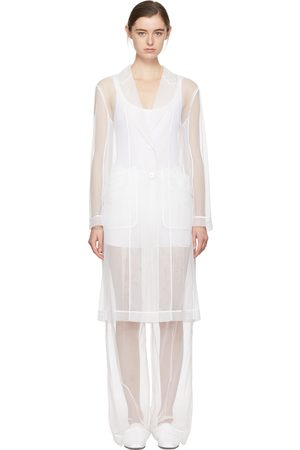 Givenchy Women Trench Coats - White Tulle Trench Coat