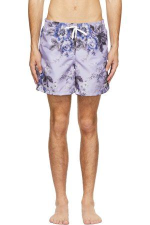 Bather Purple Floral Ripple Swim Shorts