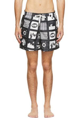 Bather Black & White Comic Swim Shorts
