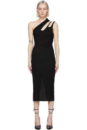 MUGLER Black Single Shoulder Mid-Length Dress