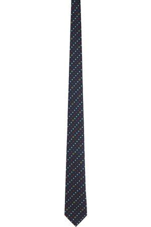 Gucci Navy & Red Silk Interlocking G Flowers Tie