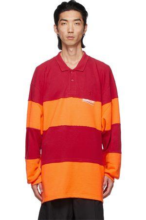 Balenciaga Orange & Red Patchwork Long Sleeve Polo