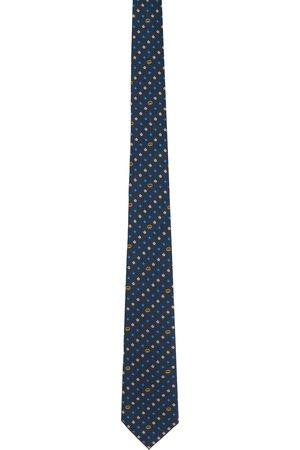Gucci Navy & Blue Silk Interlocking G Flowers Tie