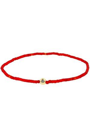 LUIS MORAIS Women Bracelets - Diamond On Red Glass Bead Bracelet