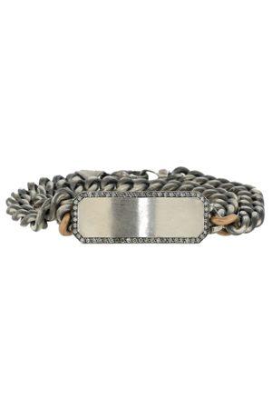 Sylva & Cie Women Bracelets - Grey Diamond ID Plate Wrap Bracelet