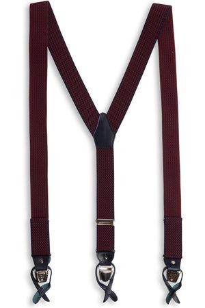 40 Colori Men Braces - Solid Silk & Cotton Braces - Navy & Red triangles