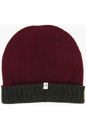 40 Colori Men Beanies - 113503-BNE Reversible Wool & Cashmere Beanie Burgundy