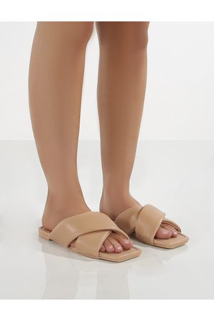 Public Desire Women Slippers - Tropicana PU Cross Over Slider Sandals - US 5