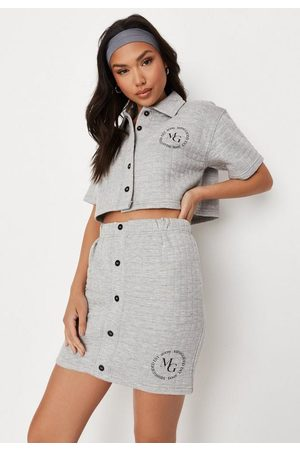 Missguided Women Mini Skirts - Quilted Crop Polo Shirt And Mini Skirt Co Ord Set