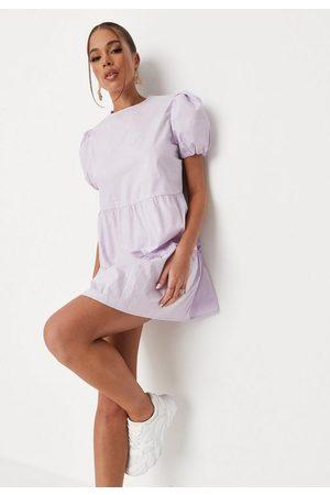 Missguided Women Dresses - Lilac Poplin Tiered Smock Dress