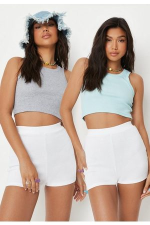 Missguided Women Tank Tops - Marl And Blue Rib Tank Tops 2 Pack