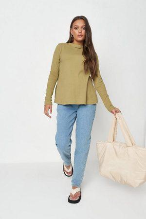 Missguided Women Long Sleeve - Khaki Rib Long Sleeve Maternity T Shirt