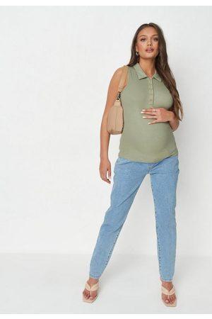 Missguided Women Tank Tops - Rib Collared Sleeveless Maternity Top