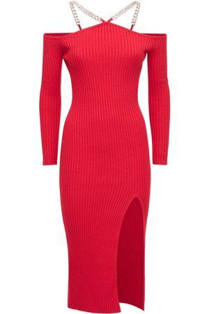 GIUSEPPE DI MORABITO Wool Blend Off-the Shoulder Midi Dress