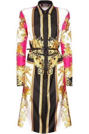 VERSACE Baroque Print Silk Twill Mini Dress