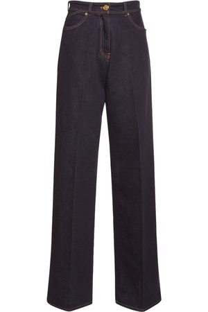 VERSACE Stretch Cotton Straight Leg Jeans