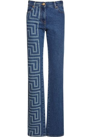 VERSACE Logo Stretch Cotton Jeans