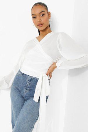 Boohoo Women Wrap tops - Womens Wrap Front Woven Blouse - - 4