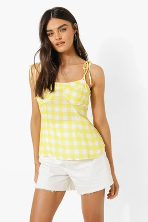 Boohoo Womens Gingham Tie Dtail Cami Top - - 2
