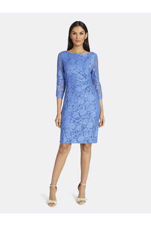 Tahari ASL Women Printed Dresses - Floral Lace Side-Ruched Dress Lake Size: 10
