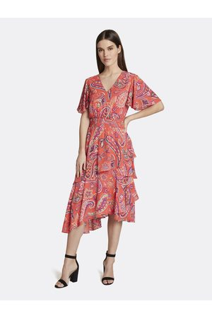 Tahari ASL Women Dresses - Paisley Smocked Tiered Dress Hot Coral Paisley Size: 10 Crepe/Georgette