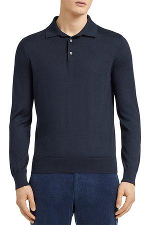 Z Zegna Men Polo Shirts - Ermenegildo Cashseta Essential Long Sleeve Regular Fit Polo Shirt