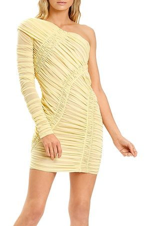 Hervé Léger Women Asymmetrical Dresses - Ruched Asymmetric Mini Dress