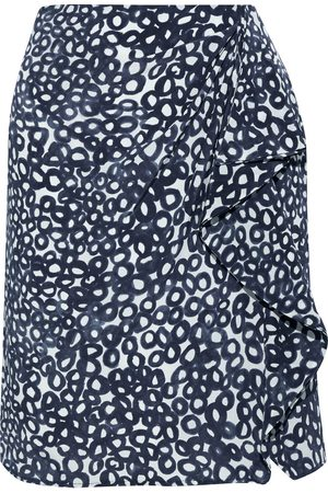 Max Mara Women Printed Skirts - Woman Eliadi Ruffled Printed Silk Crepe De Chine Mini Skirt Storm Size 40