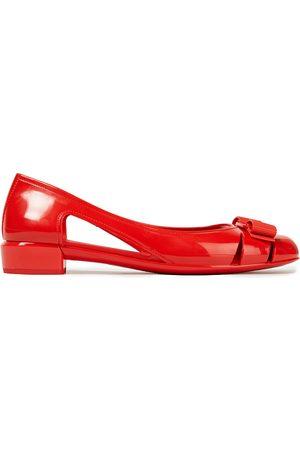 SALVATORE FERRAGAMO Women Ballerinas - Woman Vara Jelly Bow-embellished Rubber Ballet Flats Tomato Size 6