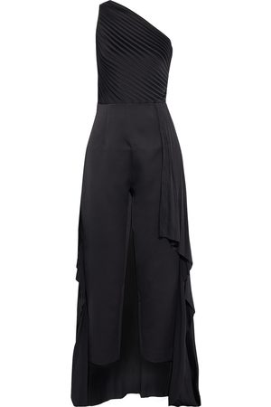 Solace Woman Winnie One-shoulder Draped Plissé-satin And Hammered-crepe Jumpsuit Size 8