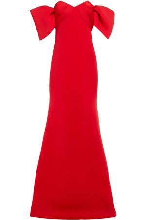 Badgley Mischka Woman Off-the-shoulder Bow-embellished Pleated Scuba Gown Size 4