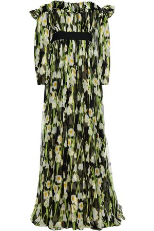Carolina Herrera Woman Off-the-shoulder Ruffled Floral-print Silk-crepon Gown Size 4