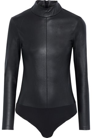 Solace Woman Aire Leather And Stretch-jersey Bodysuit Size 6