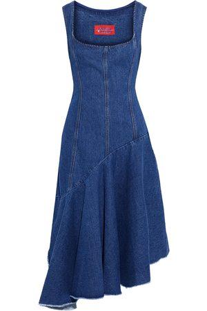 Solace Woman Lewis Asymmetric Paneled Denim Dress Mid Denim Size 8