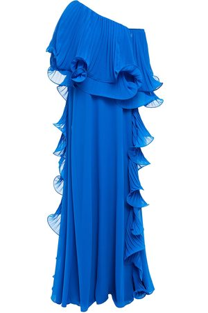 Badgley Mischka Woman Off-the-shoulder Pleated Organza And Georgette Gown Cobalt Size 4