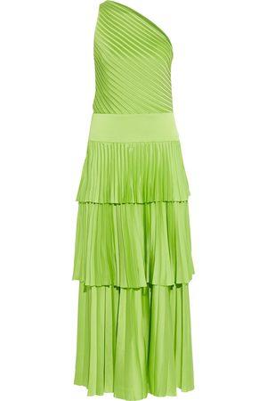 Solace Woman Larrisa One-shoulder Tiered Plissé-satin Maxi Dress Bright Size 8