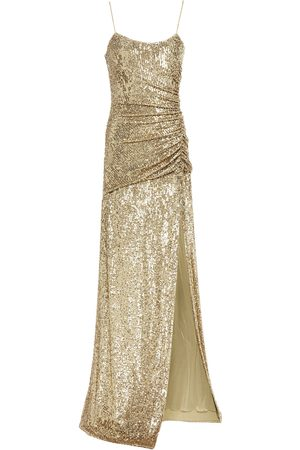 Dundas Woman Ruched Sequined Stretch-jersey Gown Size 36