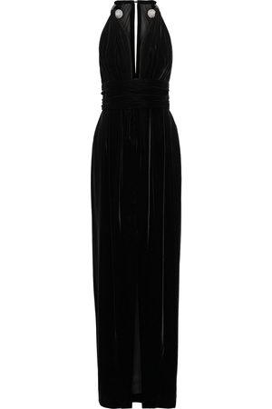 Oscar de la Renta Woman Embellished Pleated Velvet Gown Size 4