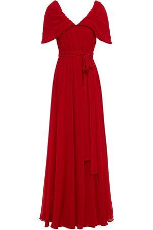 Badgley Mischka Woman Gathered Draped Crepe Gown Crimson Size 10