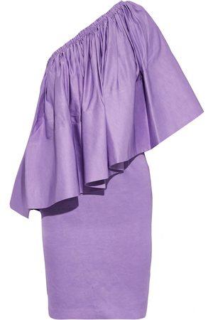 Solace Woman Layci One-shoulder Ruffled Shantung Mini Dress Lavender Size 8