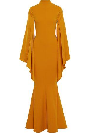Solace Woman Fleur Fluted Stretch-crepe And Satin-crepe Gown Saffron Size 8