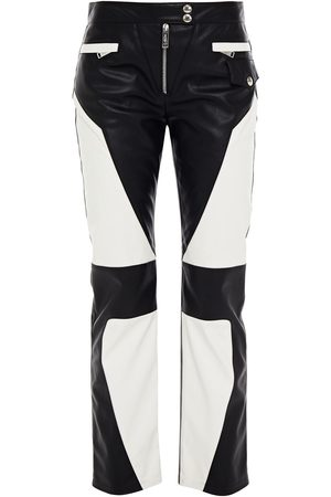 Redemption Women Leather Pants - Woman Cropped Two-tone Faux Leather Straight-leg Pants Size 38