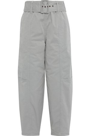 See by Chloé See By Chloé Woman Cropped Belted Cotton-blend Twill Tapered Pants Light Size 38