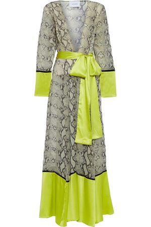 we are LEONE Women Bathrobes - Woman Belted Satin-paneled Snake-print Silk-chiffon Robe Lime Size S/M