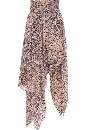 Redemption Women Printed Skirts - Woman Asymmetric Floral-print Silk Crepe De Chine Skirt Antique Rose Size 40