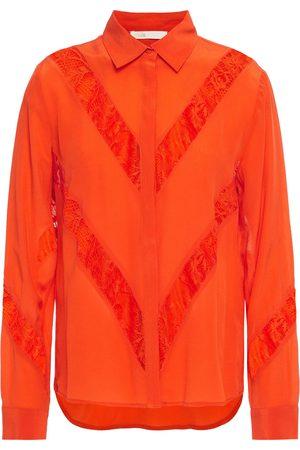 Maje Woman Chimer Lace-trimmed Silk-crepe Shirt Size 1