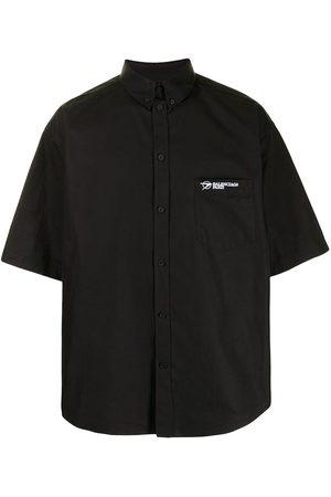 Balenciaga Men Short sleeves - Logo-embroidered short-sleeve shirt