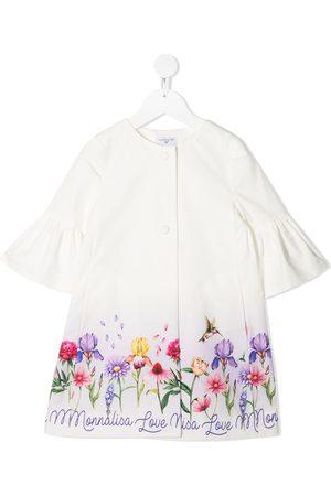 MONNALISA Floral-print ruffled-cuff coat