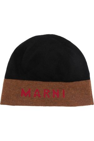 Marni Logo-intarsia two-tone beanie